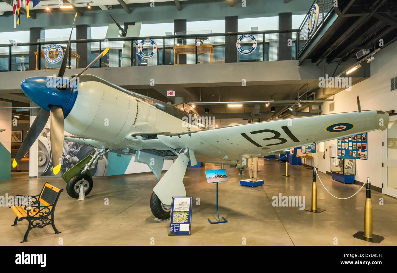 Hawker Sea Fury fighter aircraft at Naval Museum of Alberta section of The Military Museums in Calgary, Alberta, Canada - Stock Image