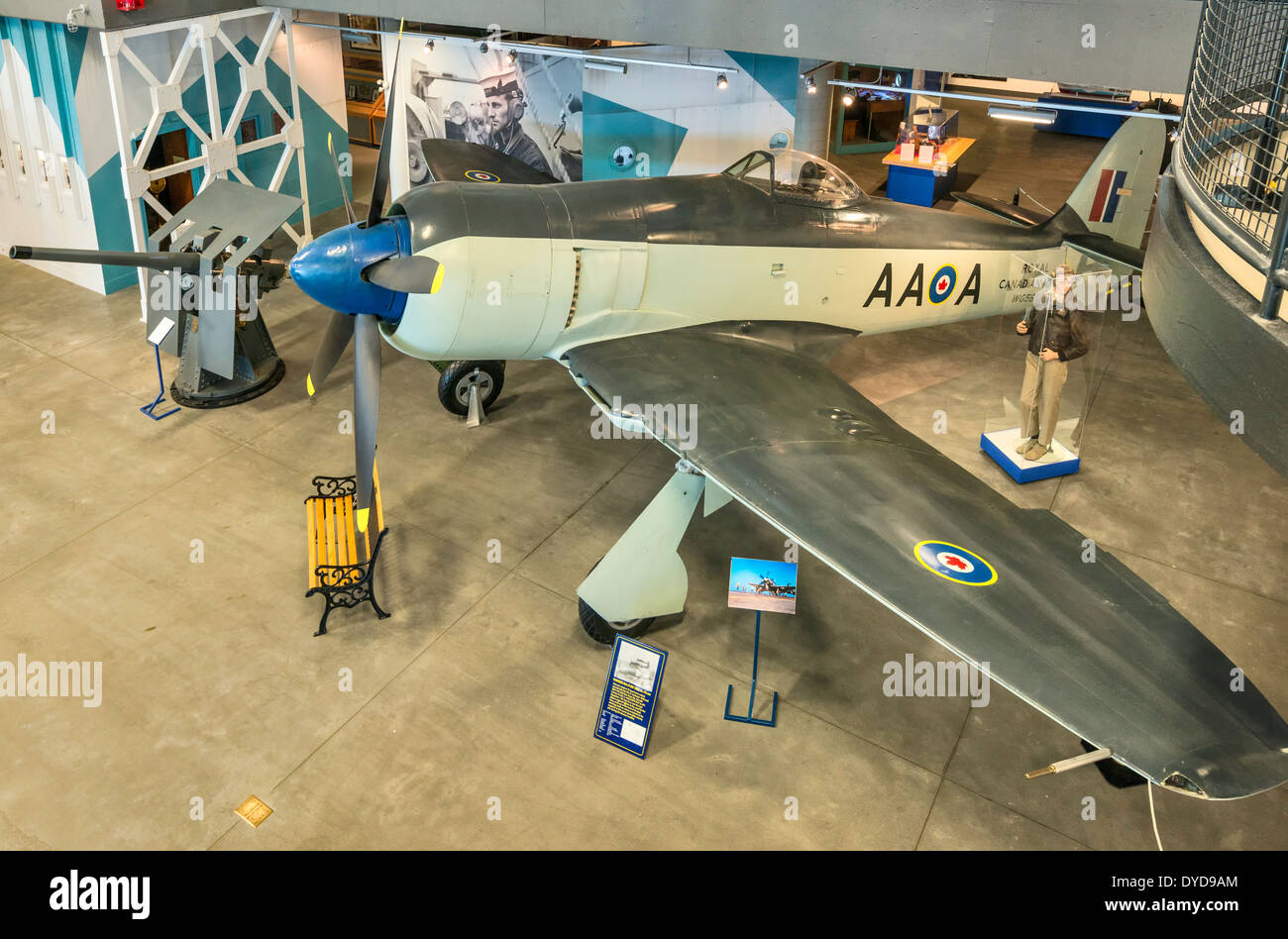 Hawker Sea Fury fighter aircraft at Naval Museum of Alberta section of The Military Museums in Calgary, Alberta, - Stock Image