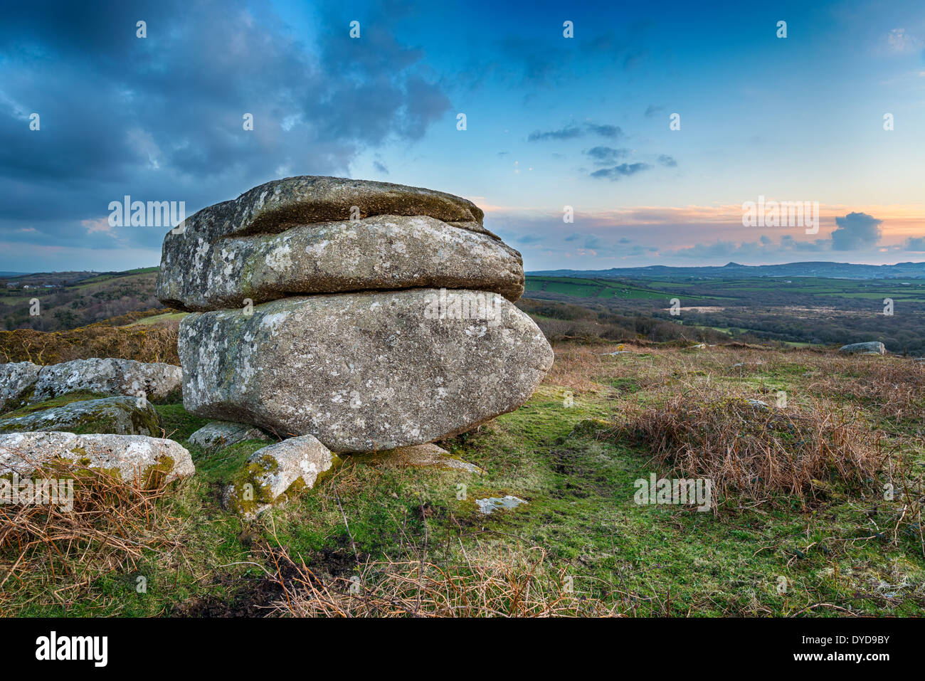 Weathered granite rock formation on Helman Tor a nature reserve on the Saints Way long distance footpath near Bodmin in Cornwall - Stock Image