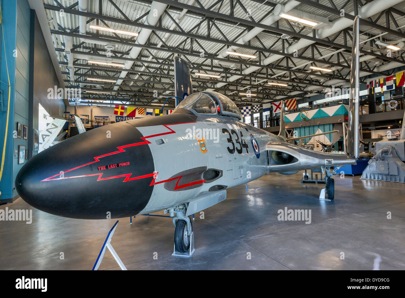 McDonnell F2H Banshee, jet fighter aircraft at Naval Museum of Alberta section of The Military Museums, Calgary, Alberta, Canada - Stock Image