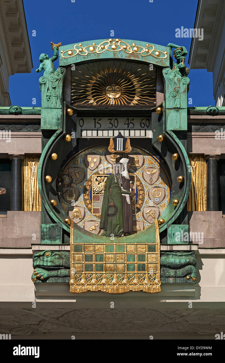 Ankeruhr Clock in Ankerhof, by Franz von Matsch, Art Nouveau, 1913, Vienna, Vienna State, Austria Stock Photo