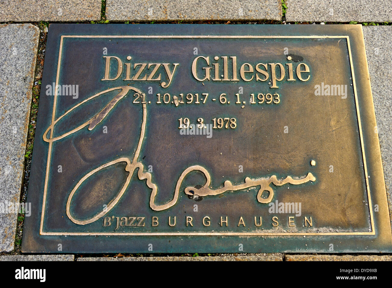 Plaque for the jazz musician Dizzy Gillespie in the pavement of the 'Street of Fame', Burghausen, Upper Bavaria, Bavaria - Stock Image