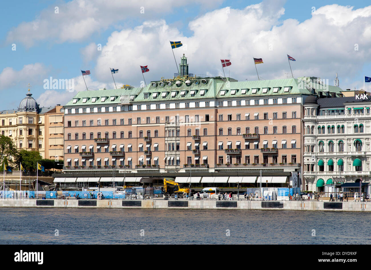 Grand Hotel, Södra Blasieholmshamnen, Stockholm, Stockholms län or Stockholm County, Sweden - Stock Image