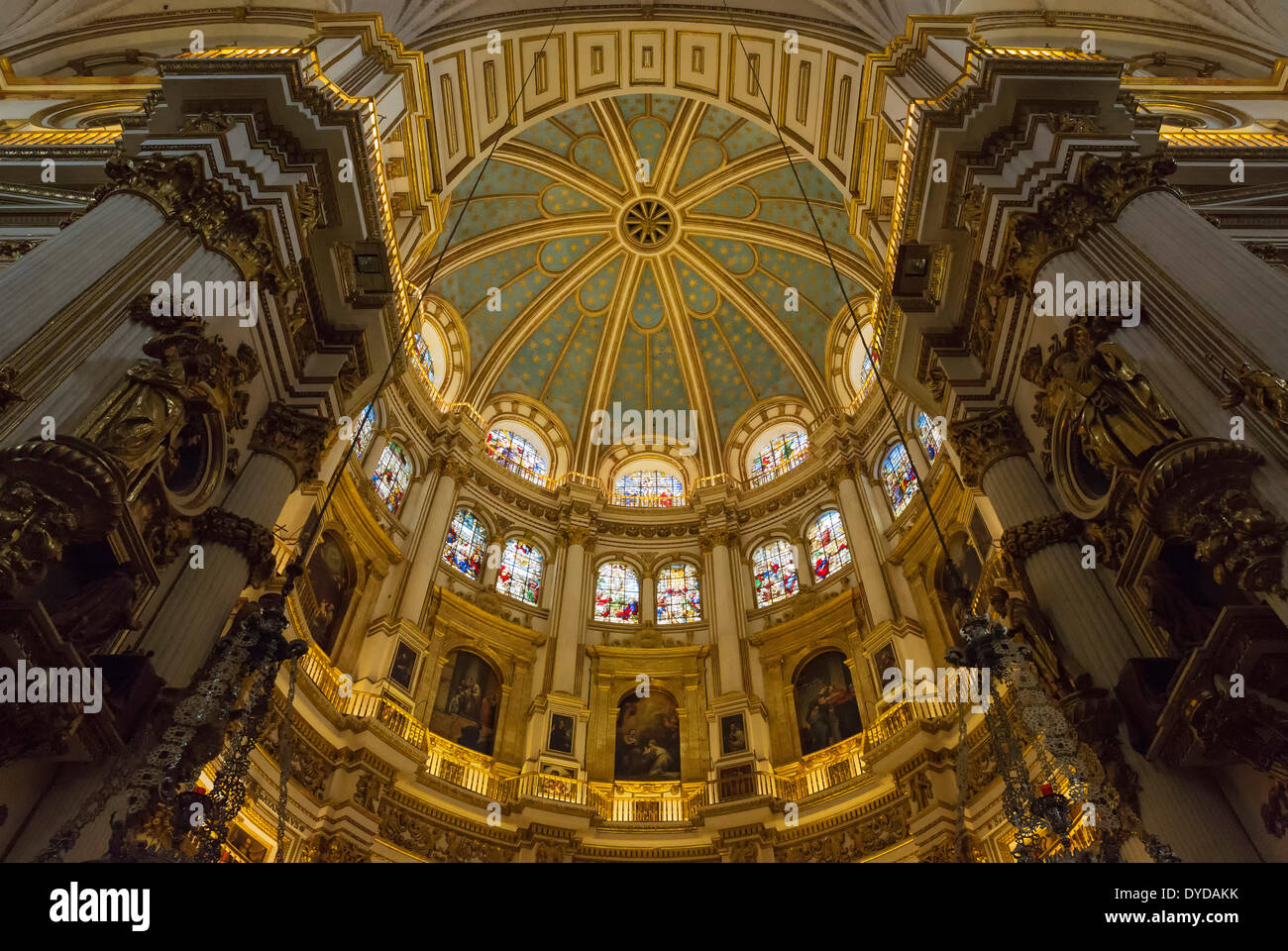 Central dome of the Cathedral in Granada, Granada province, Andalusia, Spain Stock Photo