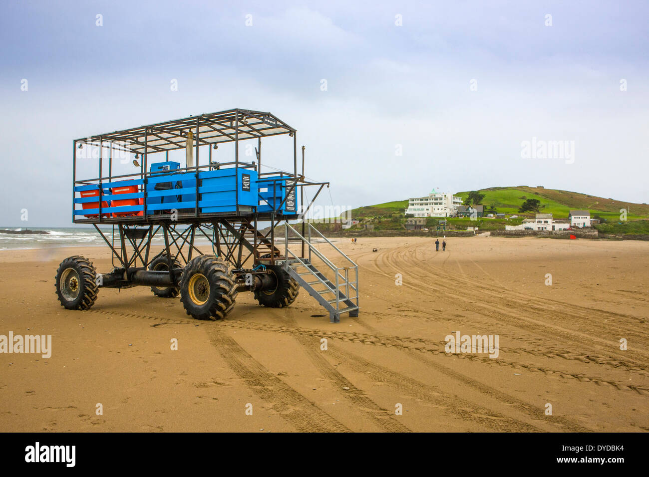 Burgh island with the sea tractor in the foreground. - Stock Image