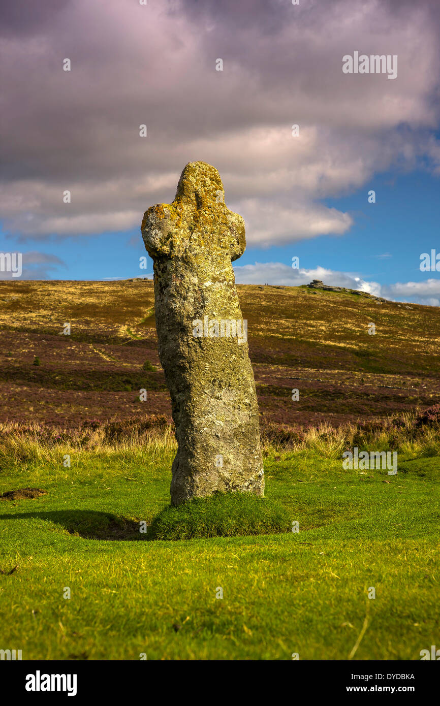 Bennett's Cross by the side of the Moretonhampstead to Two Bridges road and near to the Warren House Inn. - Stock Image