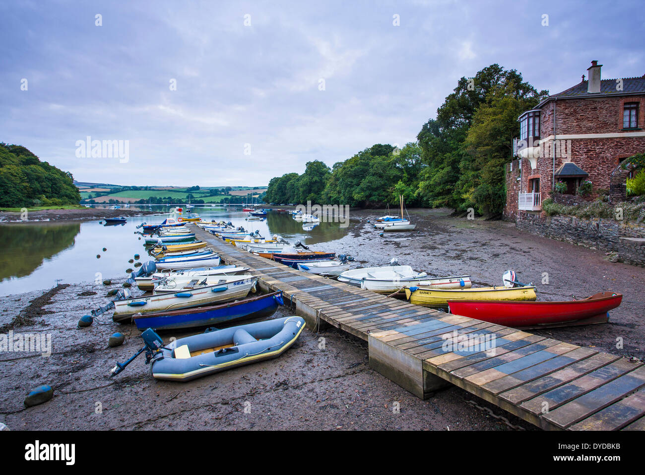 The pontoon and harbour at Stoke Gabriel on the river Dart. - Stock Image