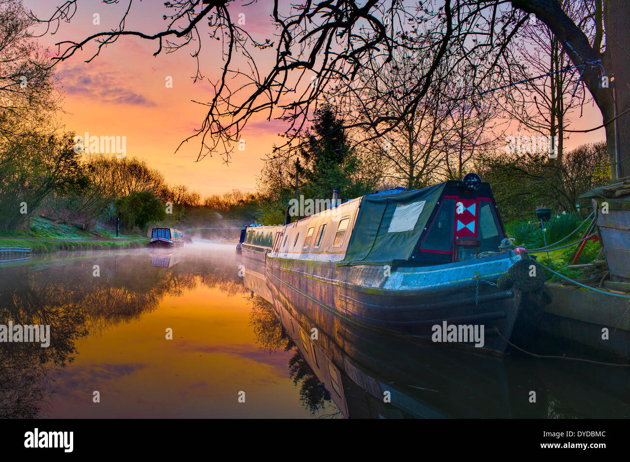 Tranquil reflections and morning mist in the first rays of dawn on the Grand Union canal with several narrow boats. - Stock Image