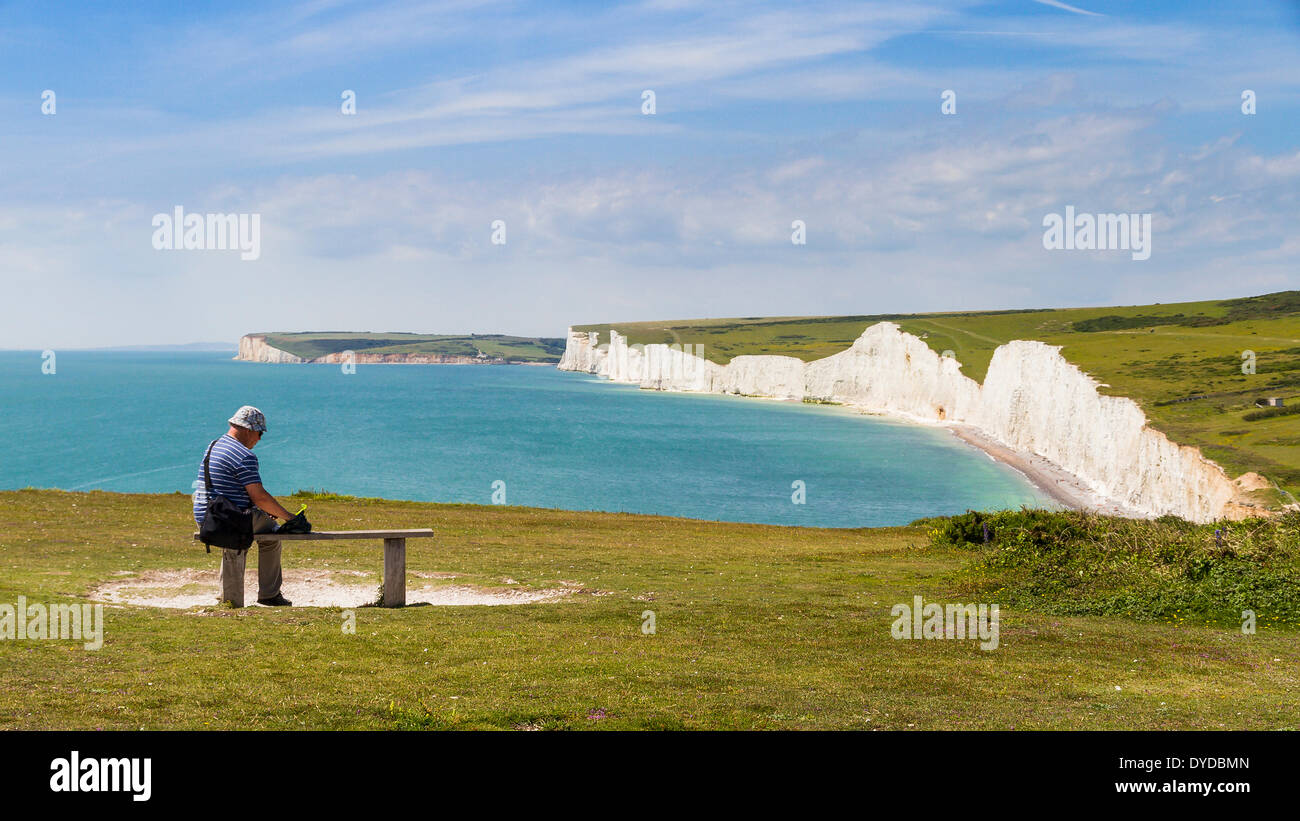 The Seven Sisters and Shoreham Head seen from near Birling Gap. - Stock Image