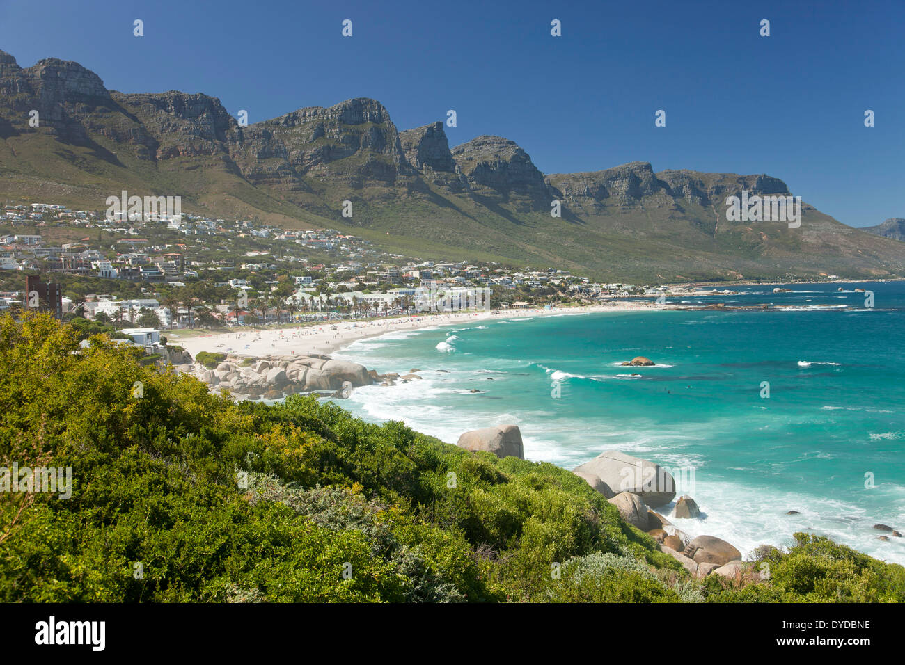 Twelve Apostles Mountain Range And Camps Bay Beach In Cape Town
