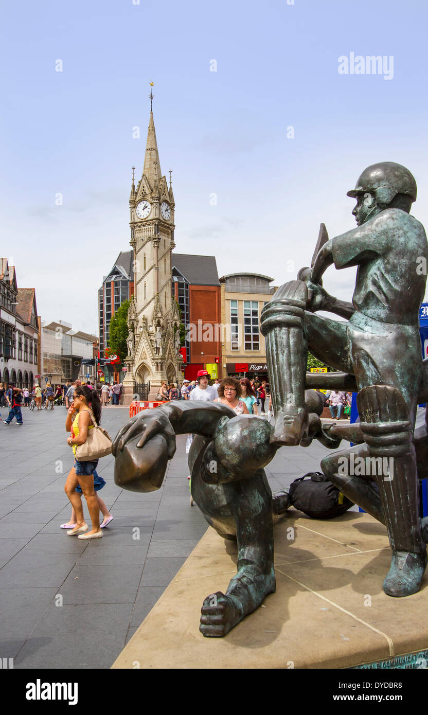 The Sporting Success sculpture with Leicester clock tower in the background. - Stock Image