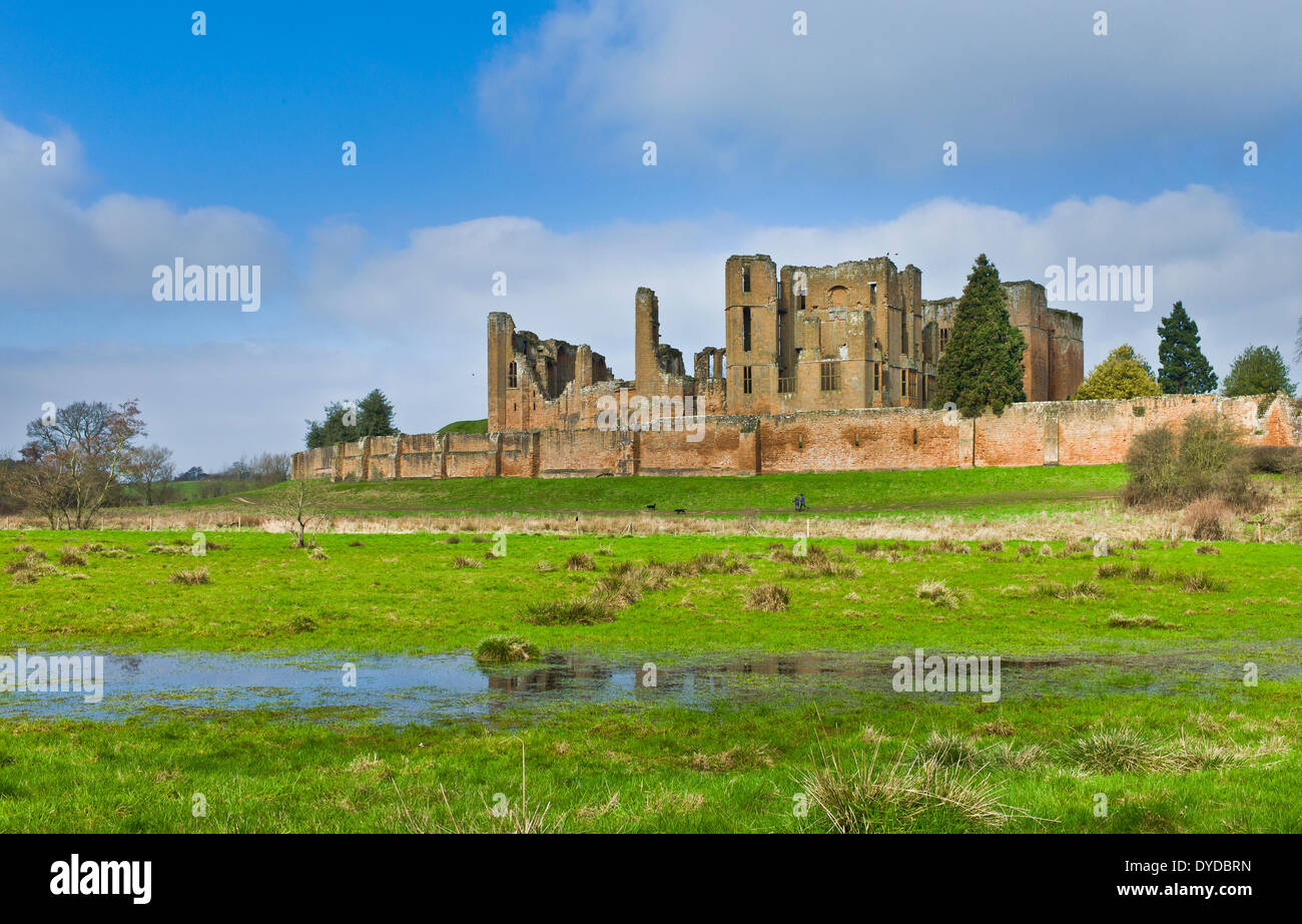 Kenilworth Castle was partly destroyed by Parliamentary forces in 1649 to prevent it being used as a military stronghold. - Stock Image