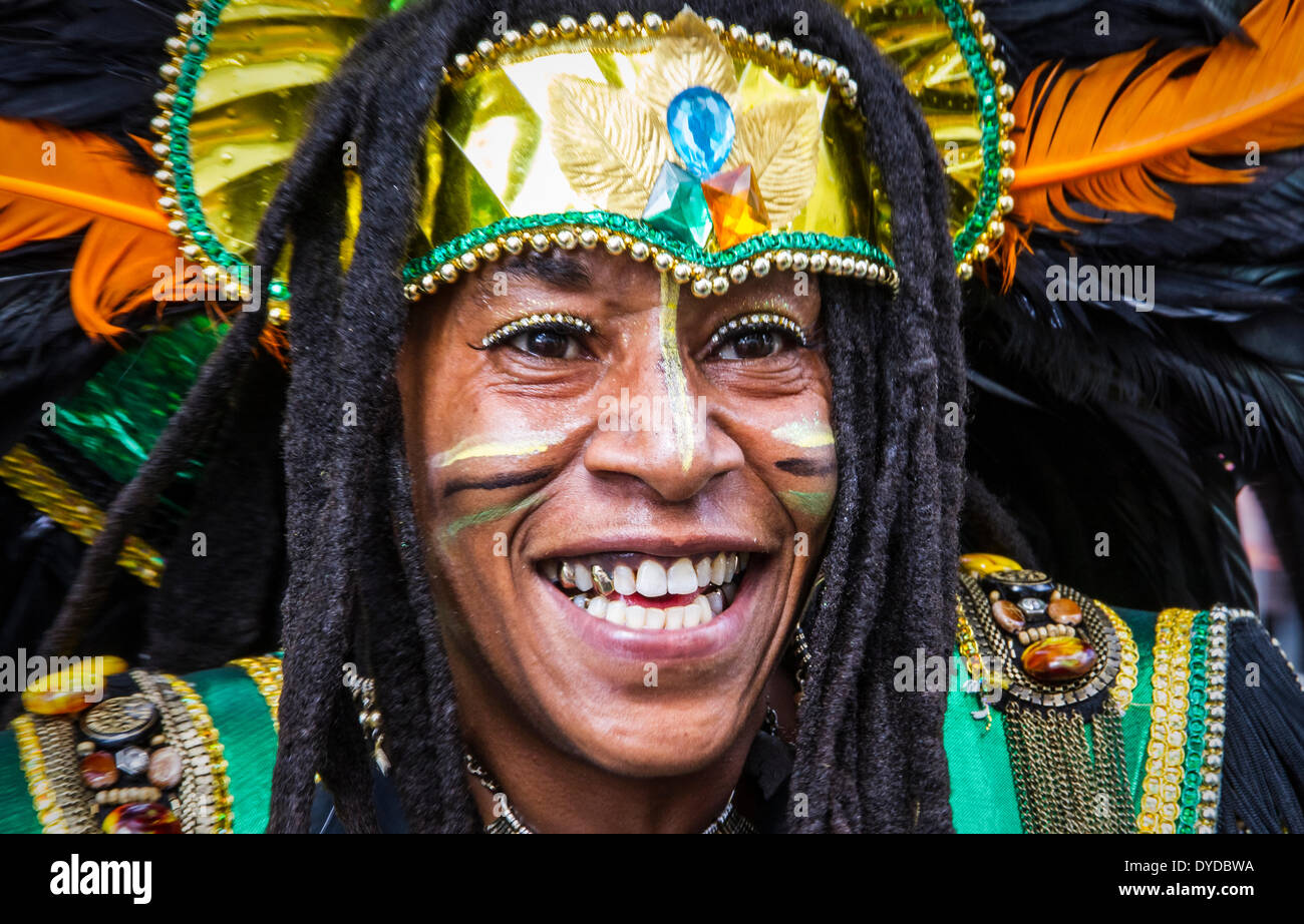Costumed dancer at Leicester Caribbean Carnival. - Stock Image