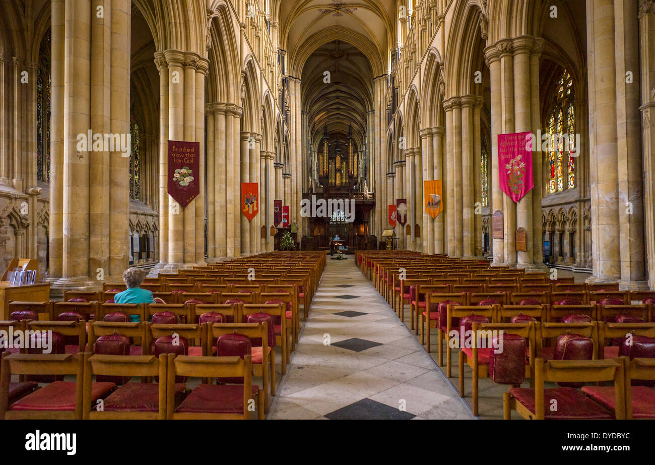 Interior of Beverly Minster which is one of the largest parish churches in the UK. - Stock Image