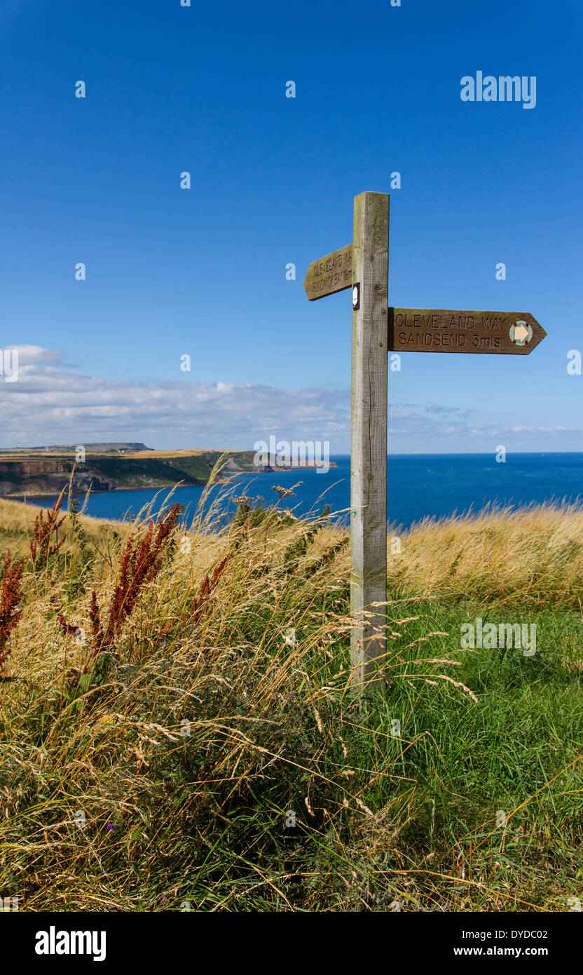 Signpost for the Cleveland Way on the Yorkshire coast near Whitby. - Stock Image