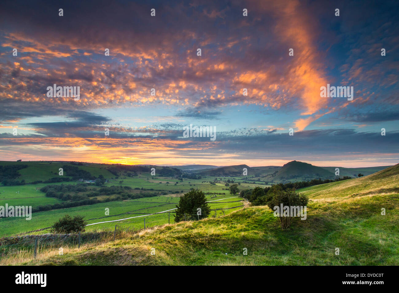 View of Chrome Hill and Parkhouse Hill from Hollinsclough. - Stock Image
