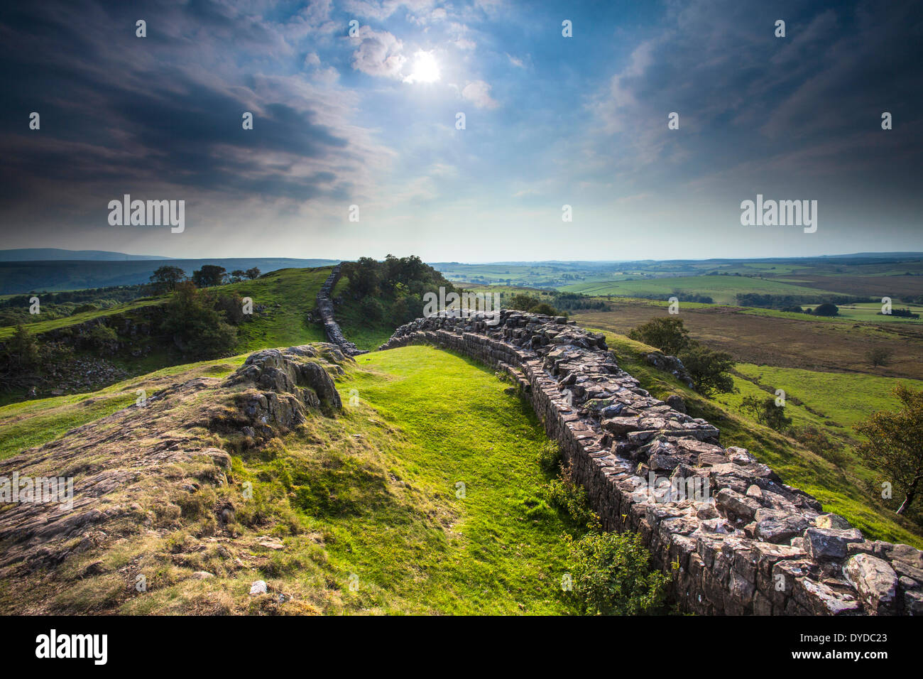 Hadrian's wall at Walltown Crags in Northumberland. Stock Photo