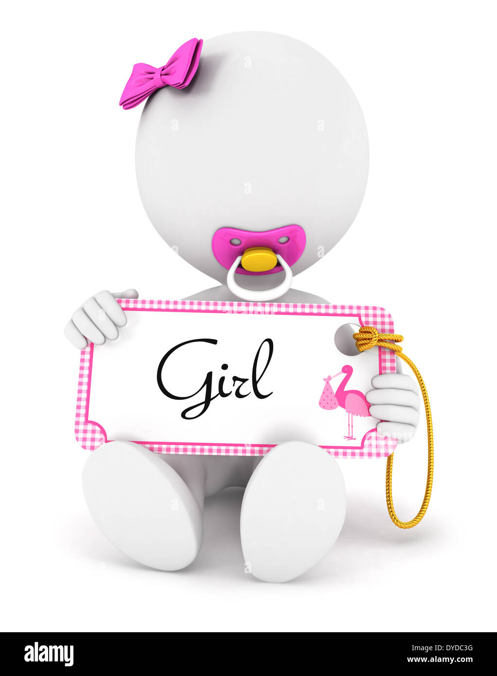 3d white people baby girl holding an name tag, isolated white background, 3d image Stock Photo