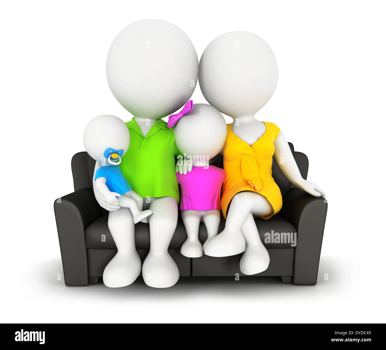 3d white people family sitting on sofa, isolated white background, 3d image Stock Photo