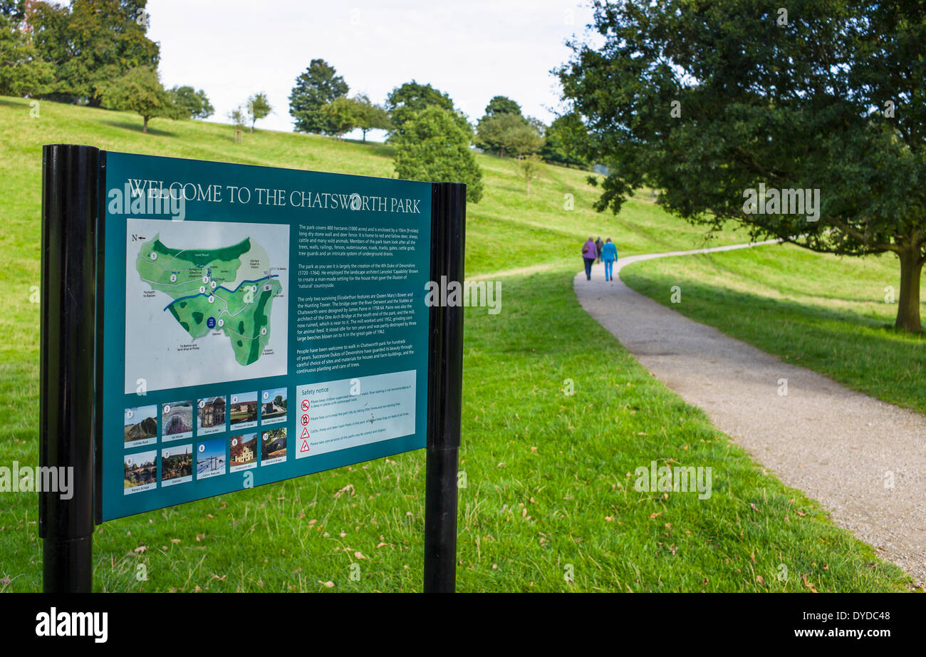 The start of a walk at Chatsworth Park in Derbyshire. - Stock Image