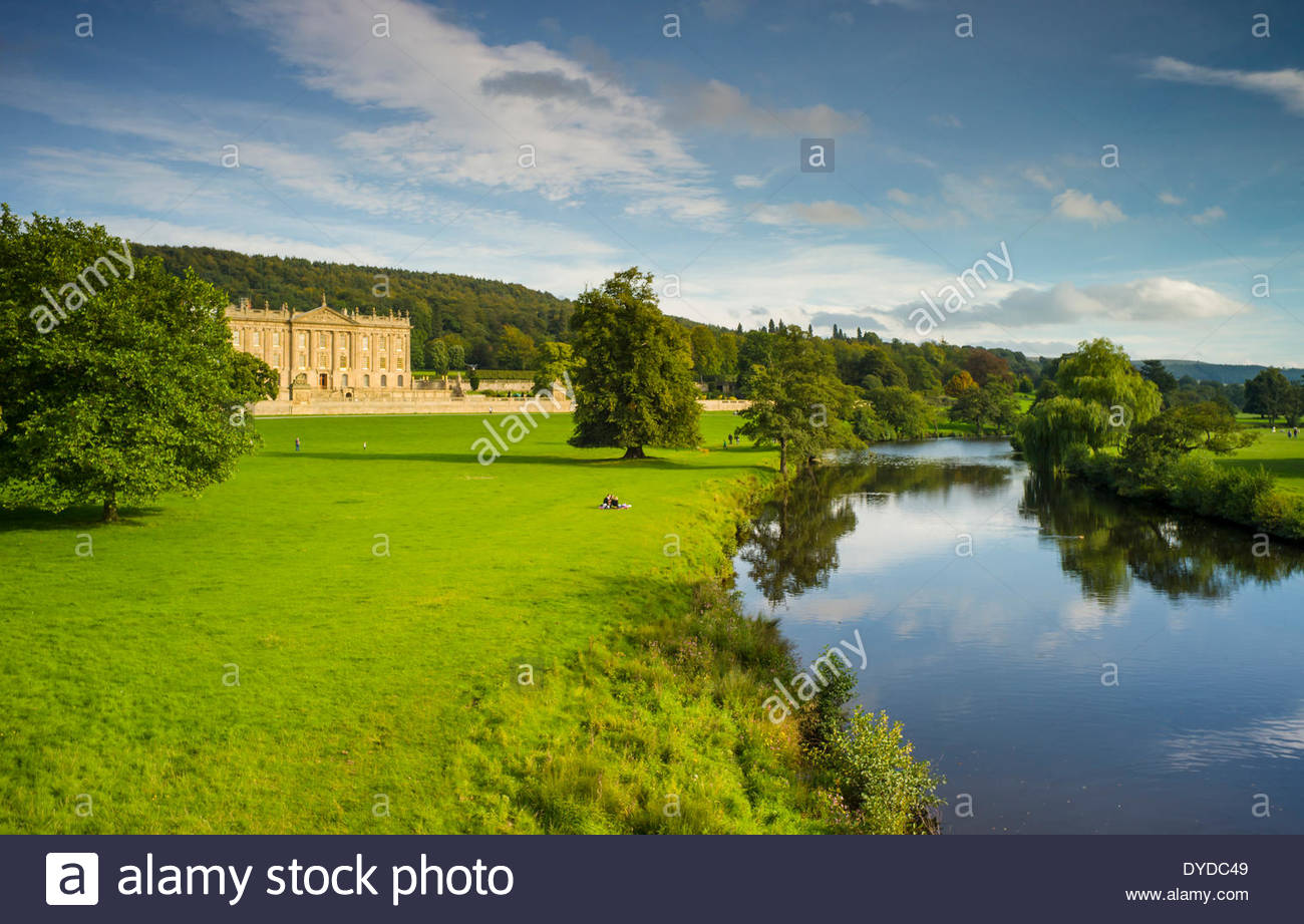 View of Chatsworth House and the River Derwent. - Stock Image