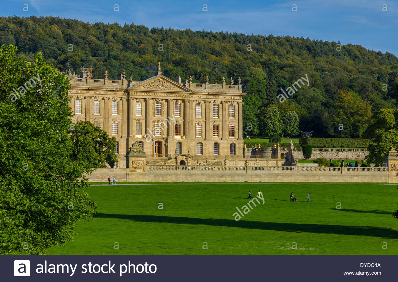 View of Chatsworth House in Derbyshire. - Stock Image