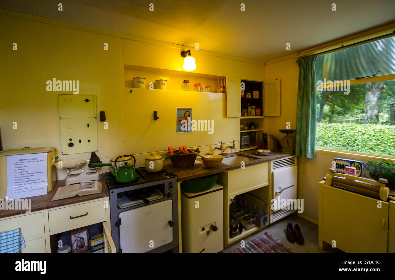 Kitchen of a typical pre-fab at Avoncroft Museum of Buildings. - Stock Image