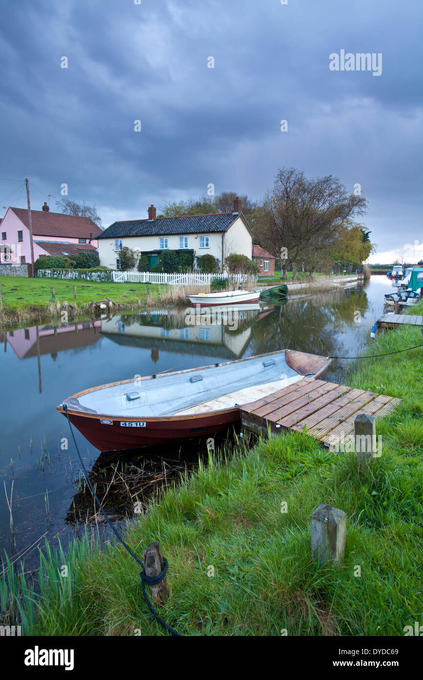 West Somerton Staithe on a stormy evening on the Norfolk Broads. - Stock Image