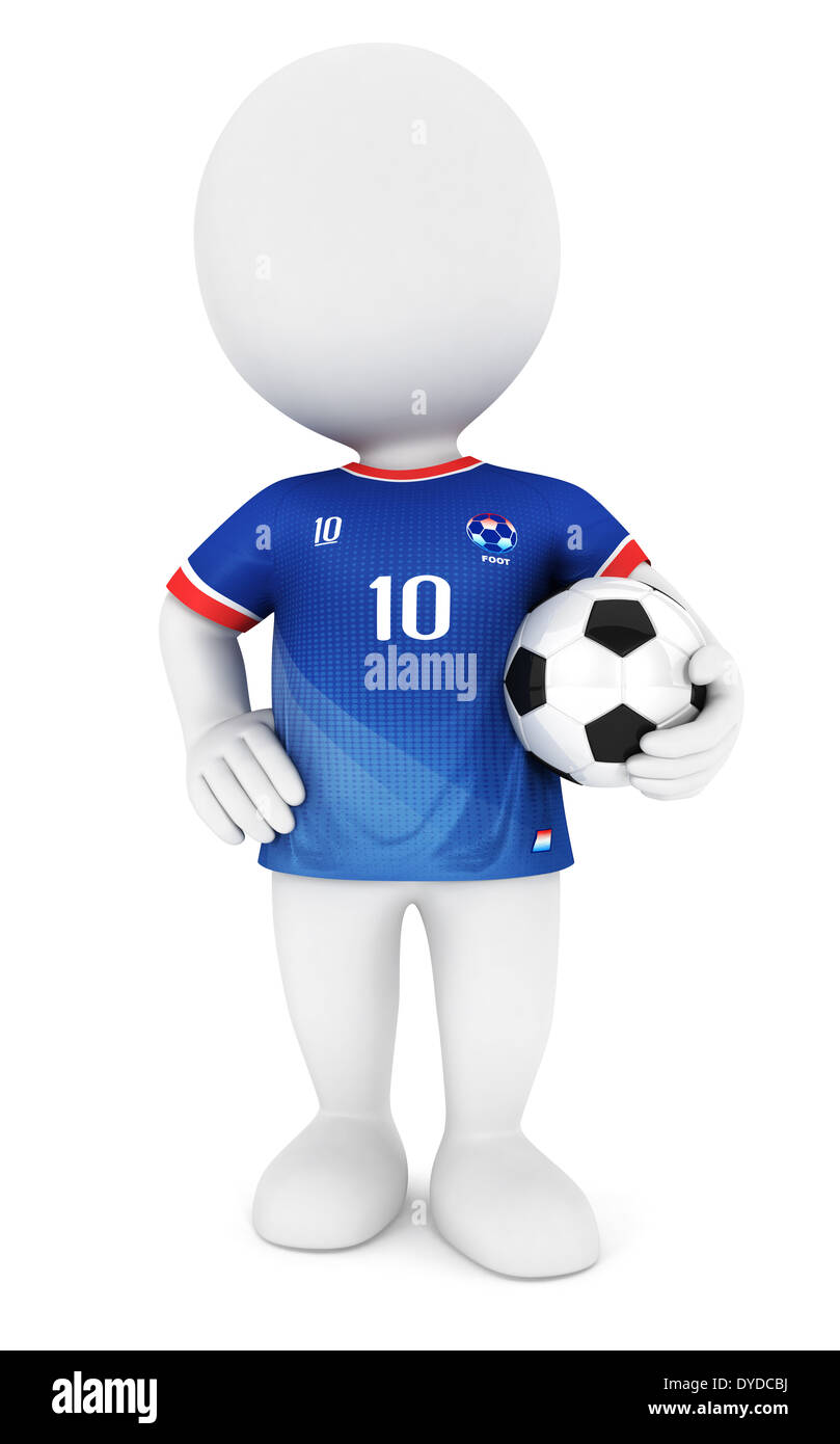 3d white people soccer player with blue jersey, isolated white background, 3d image Stock Photo