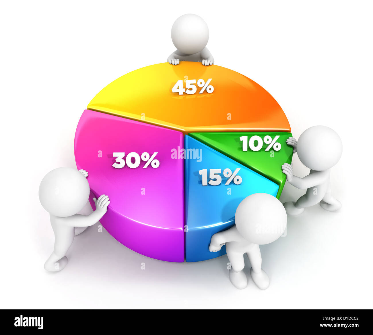 3d white people team pie chart, isolated white background, 3d image Stock Photo