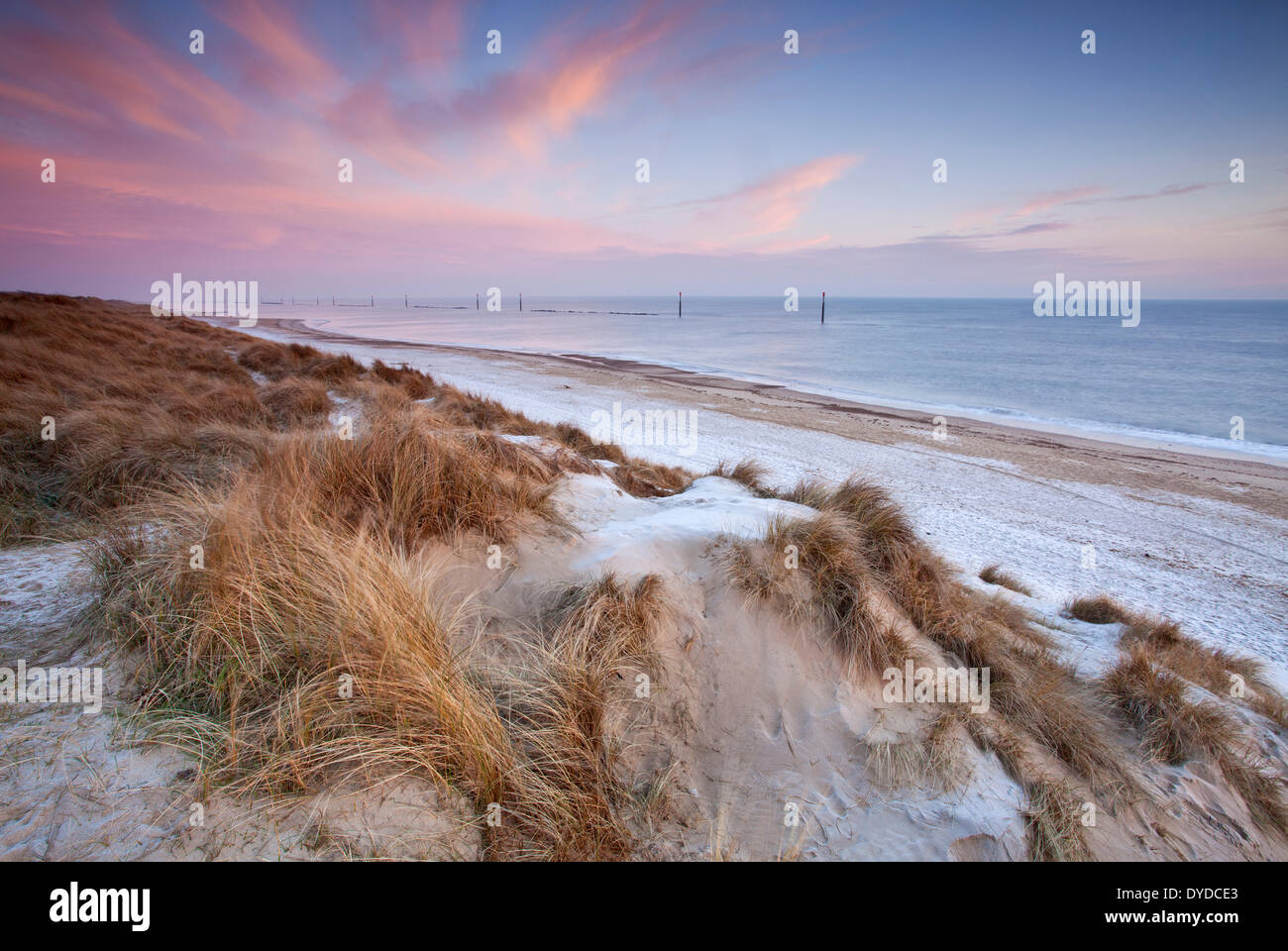 Sea Palling beach on a cold frosty morning on the Norfolk coast. - Stock Image