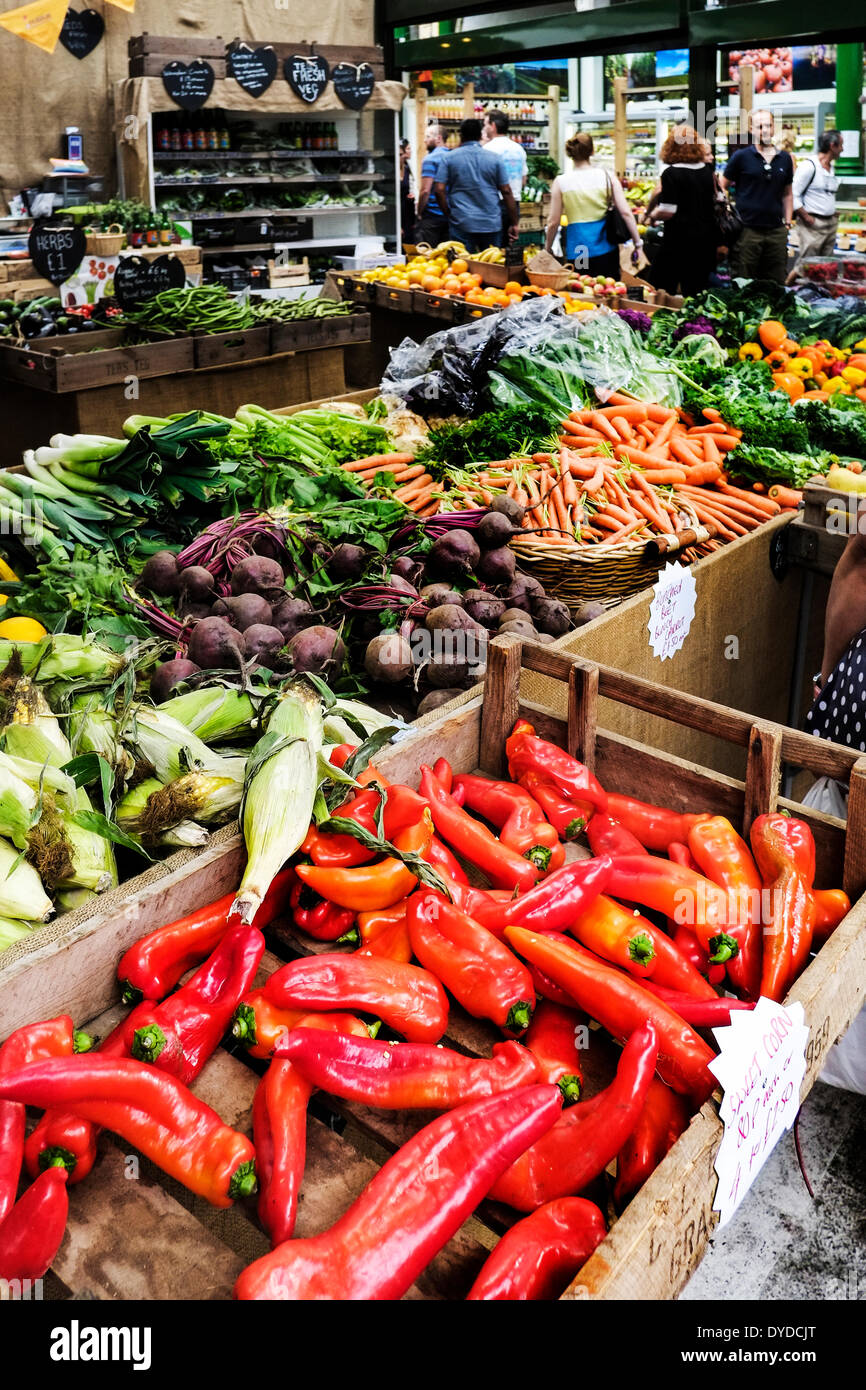 Assorted vegetables on sale at Borough Market in London. - Stock Image