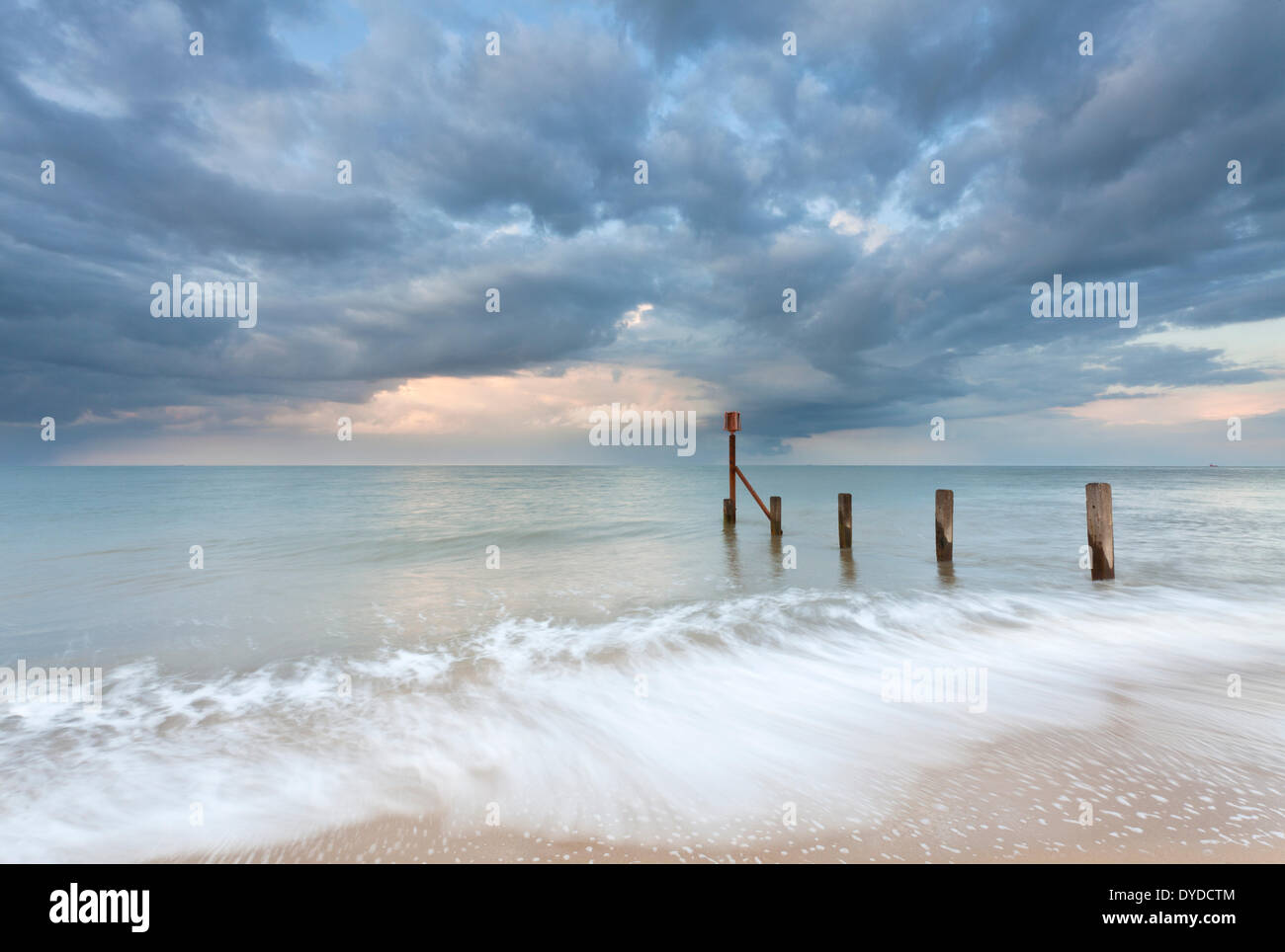 A storm passes over Horsey beach on the Norfolk coast. - Stock Image