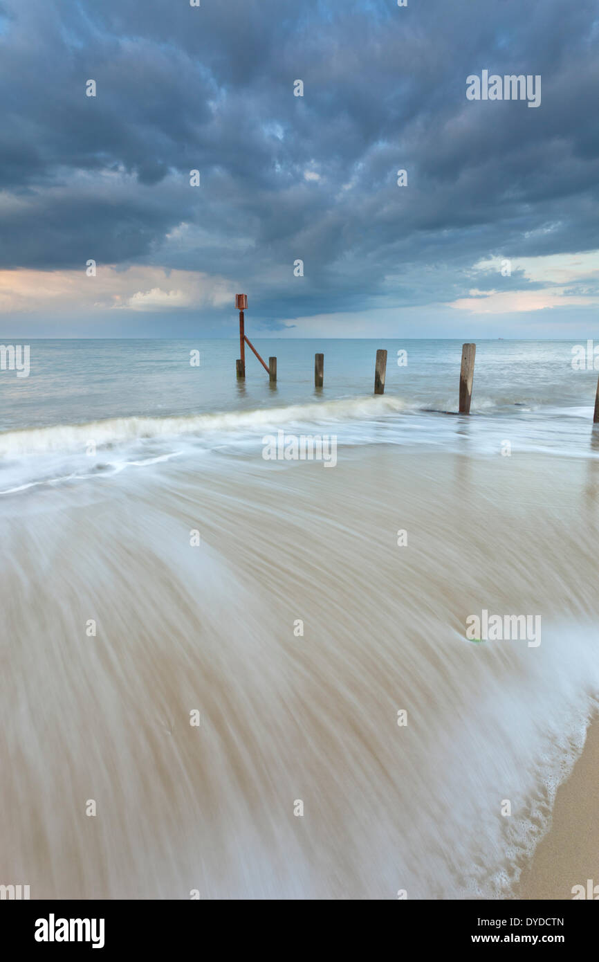 A storm passes over Horsey beach on the Norfolk coast. Stock Photo