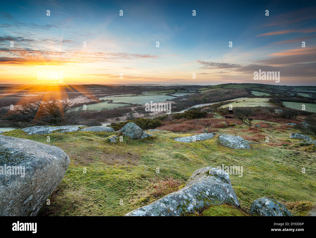 Spring sunrise at Helman Tor near Bodmin in Cornwall - Stock Image