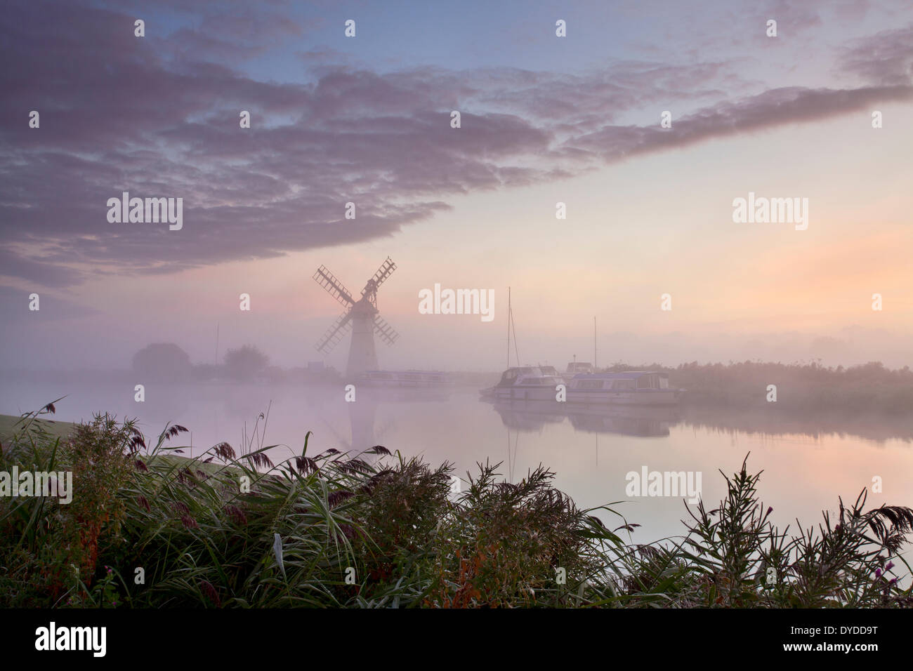 Thurne Mill on a misty afternoon on the Norfolk Broads. - Stock Image