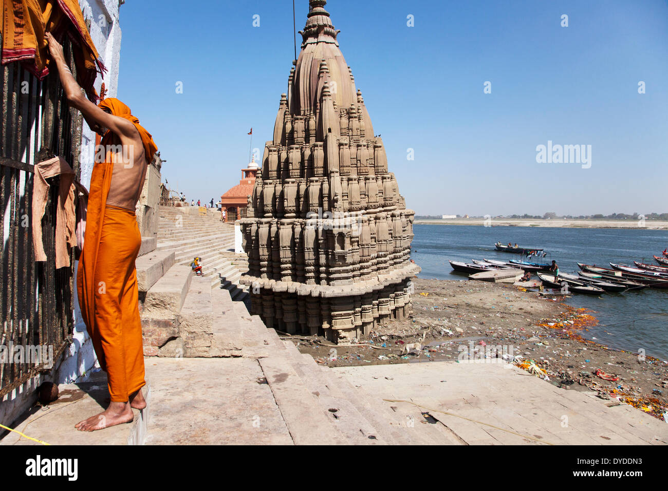 A Sadhu on the ghats. - Stock Image