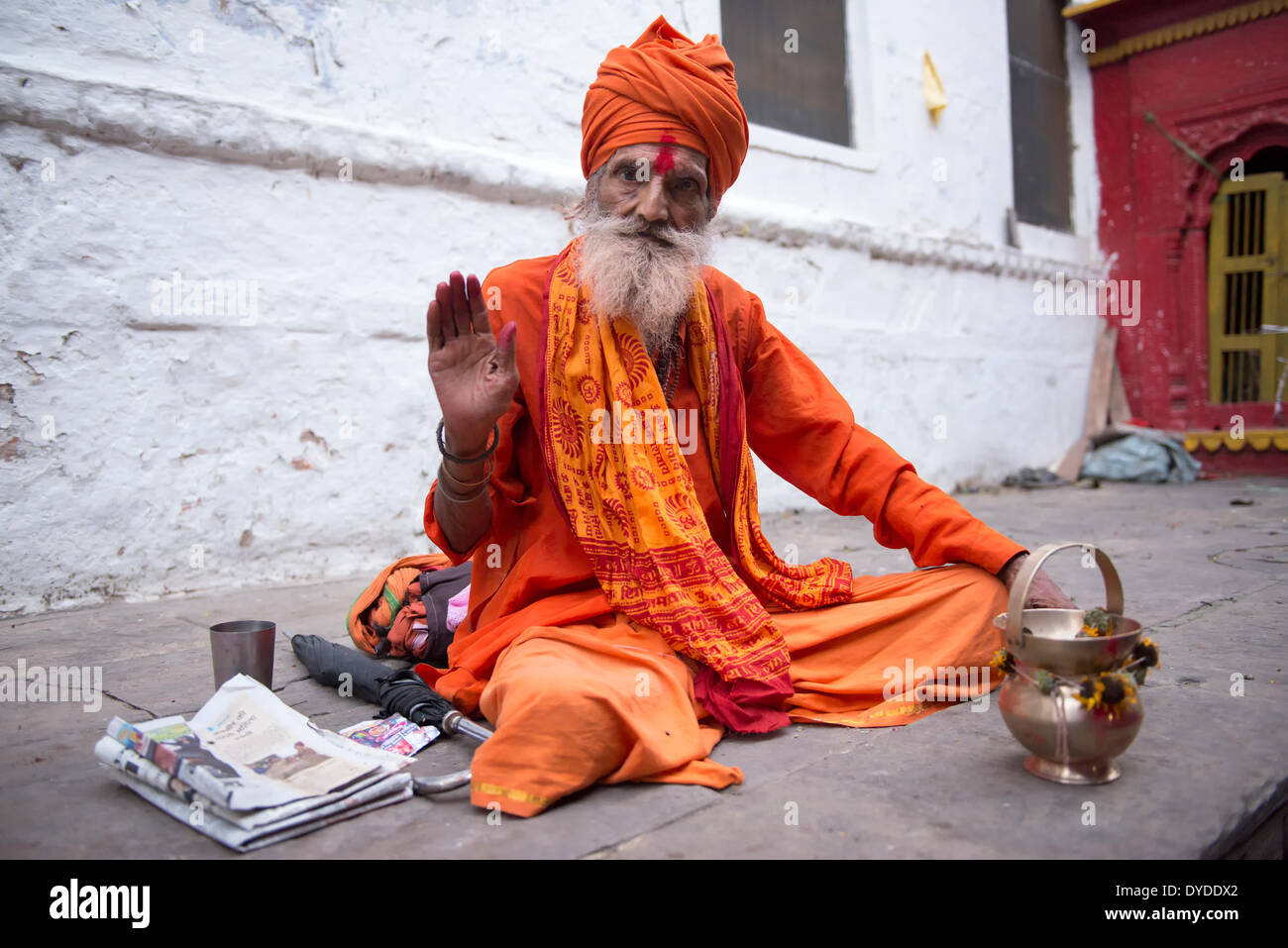 Portrait of a sadhu or holy man. - Stock Image