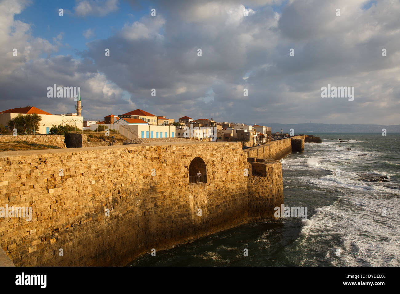 View of the old city walls, Akko (Acre), Israel. - Stock Image