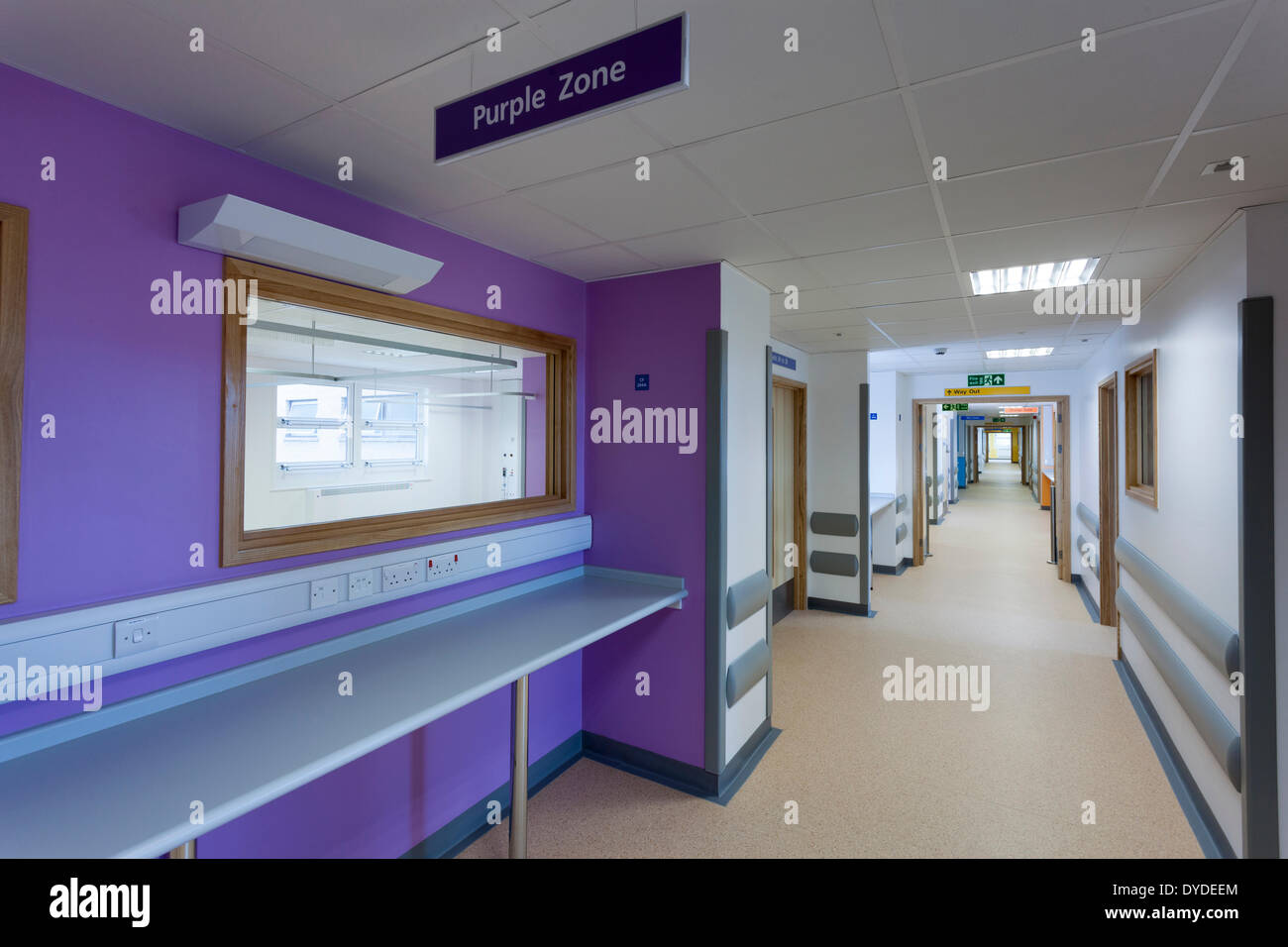 Hospital corridor Day Surgery Unit at Southampton General Hospital prior to medical staff moving in. - Stock Image