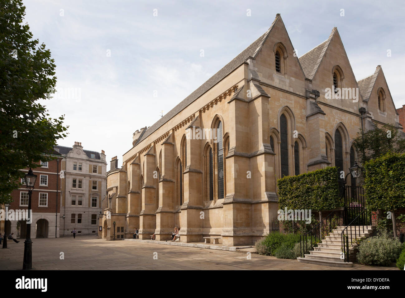 Exterior of Temple Church in London. - Stock Image
