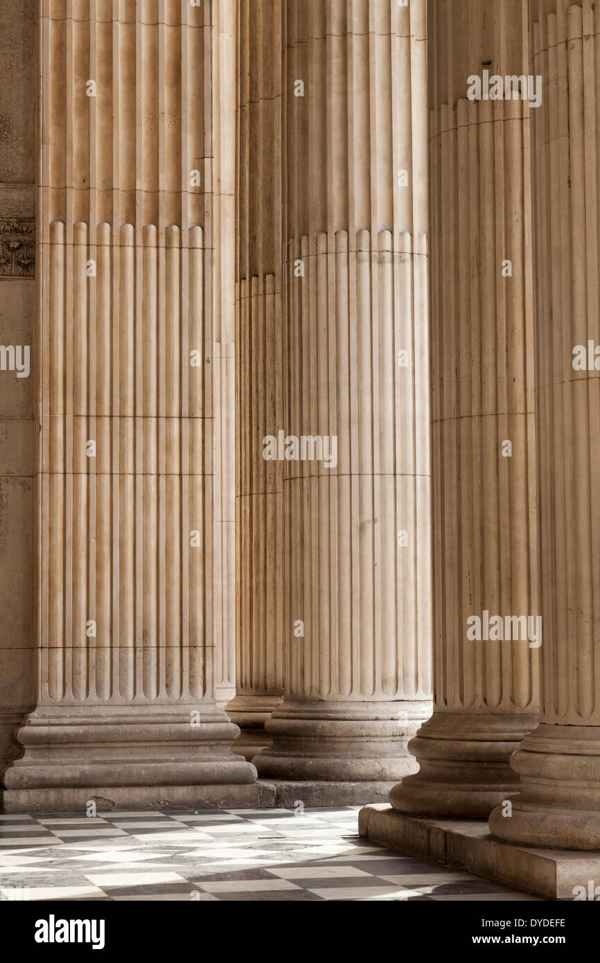 Columns in the entrance porch at St Paul's Cathedral. - Stock Image