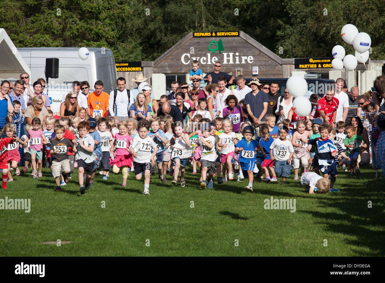 Pre school children taking part in a 60m dash race with parents watching at Alice Holt Forest. - Stock Image