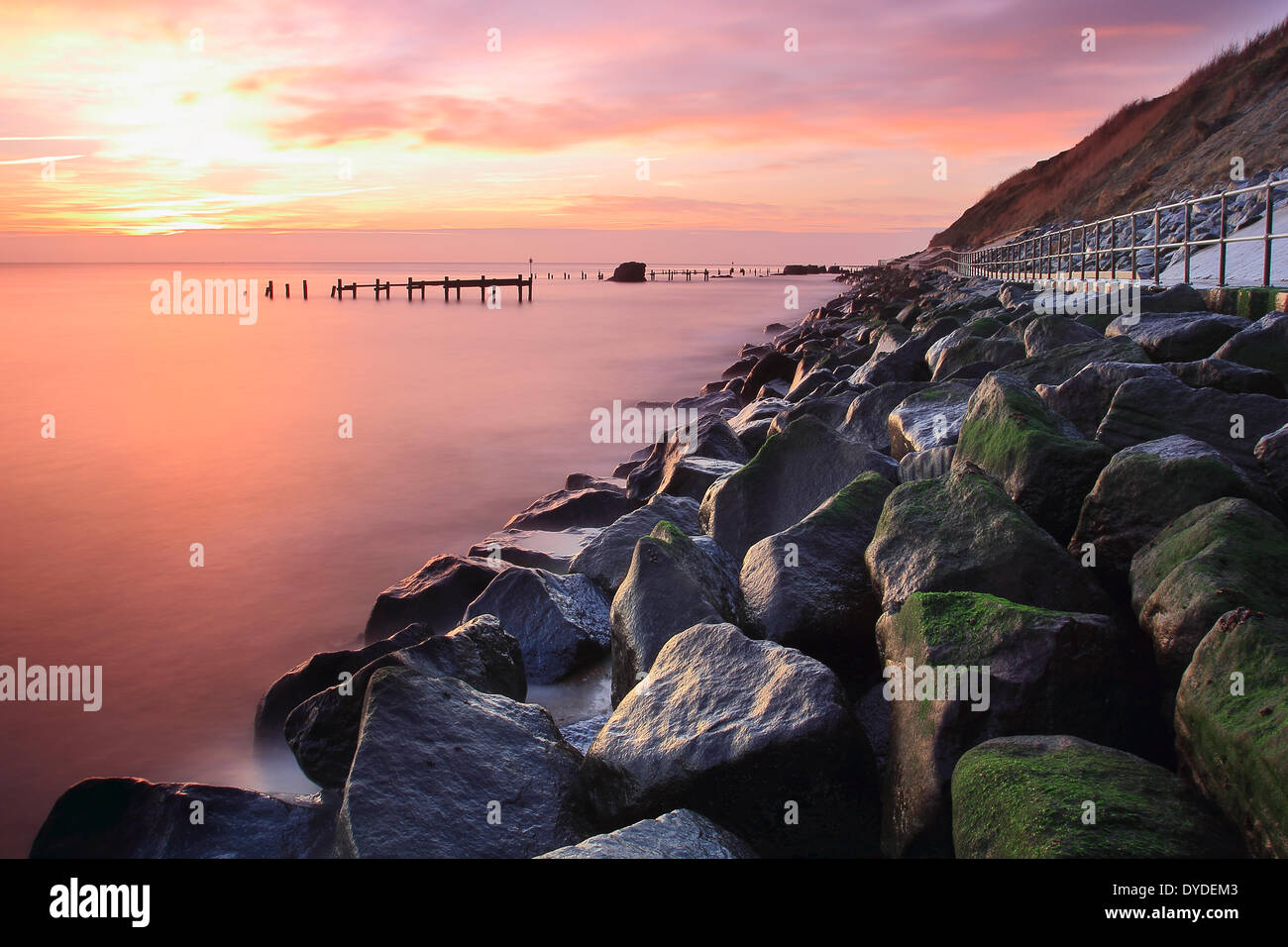 A view of Corton sea defences. - Stock Image