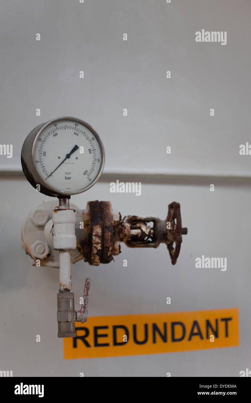 Redundant offshore vessel with gauge and isolation valve. - Stock Image
