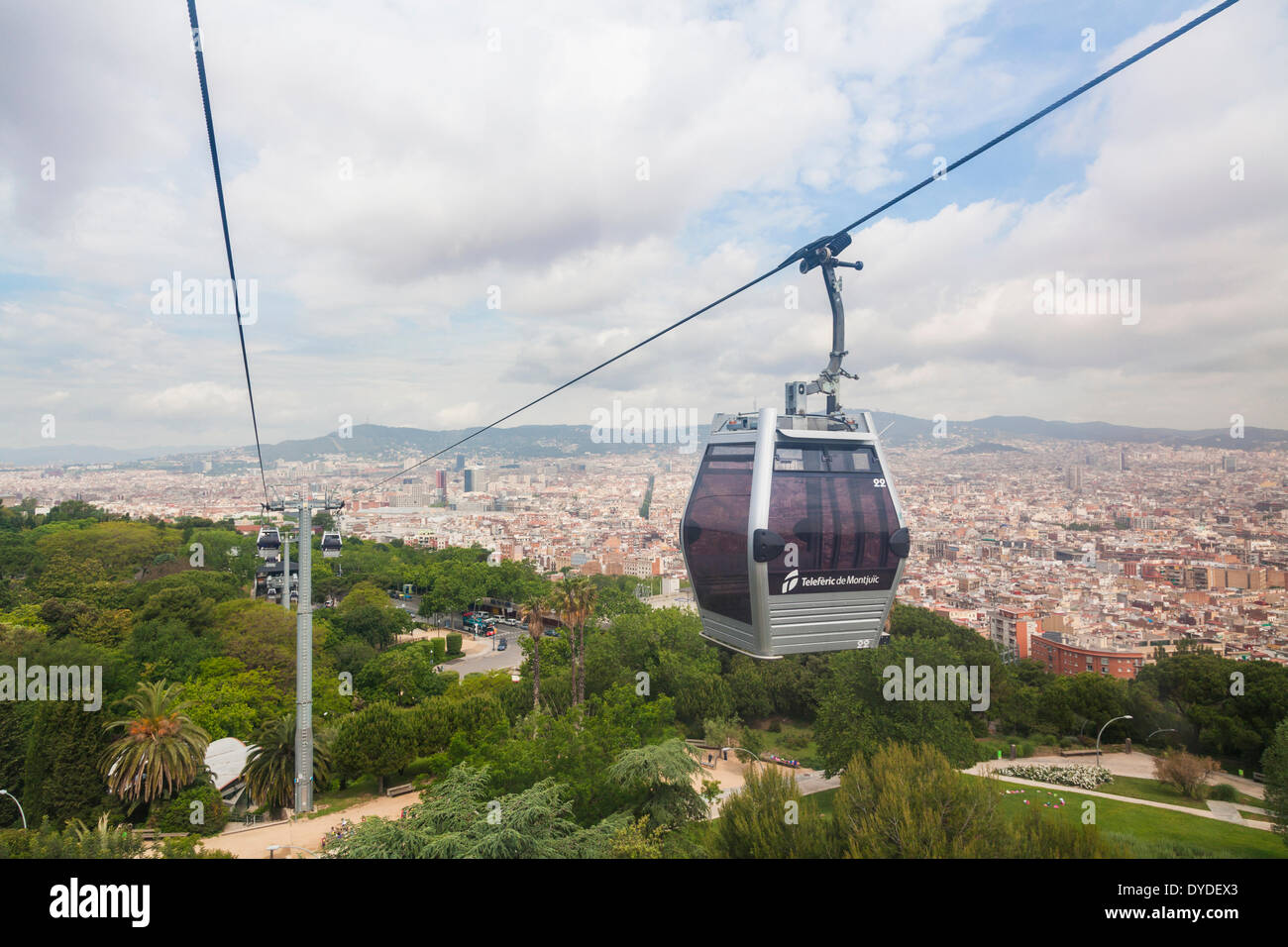 The Montjuic cable car with a panorama of Barcelona. - Stock Image
