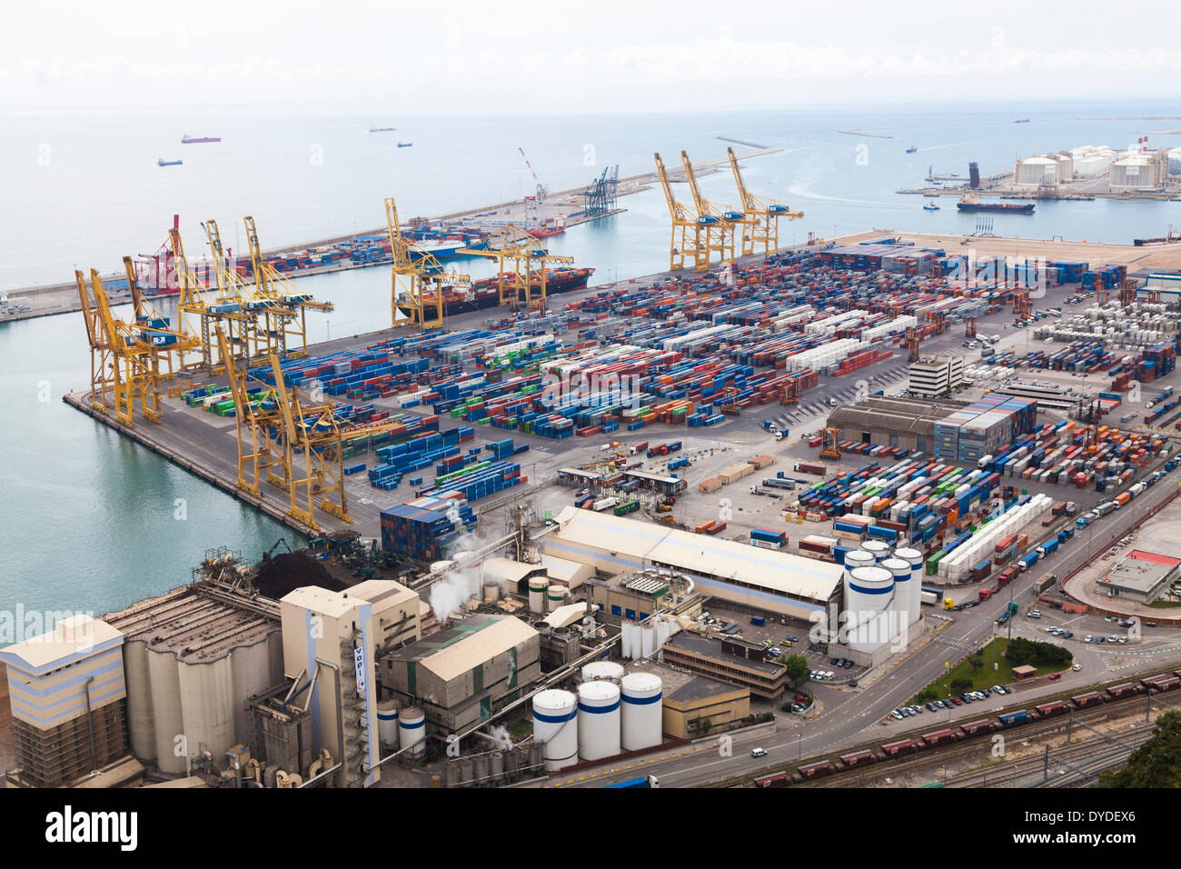 High view of Barcelona container port dockyard. - Stock Image