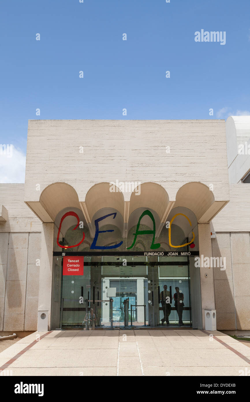 Entrance to the Fundacio Joan Miro Foundation in Barcelona. - Stock Image