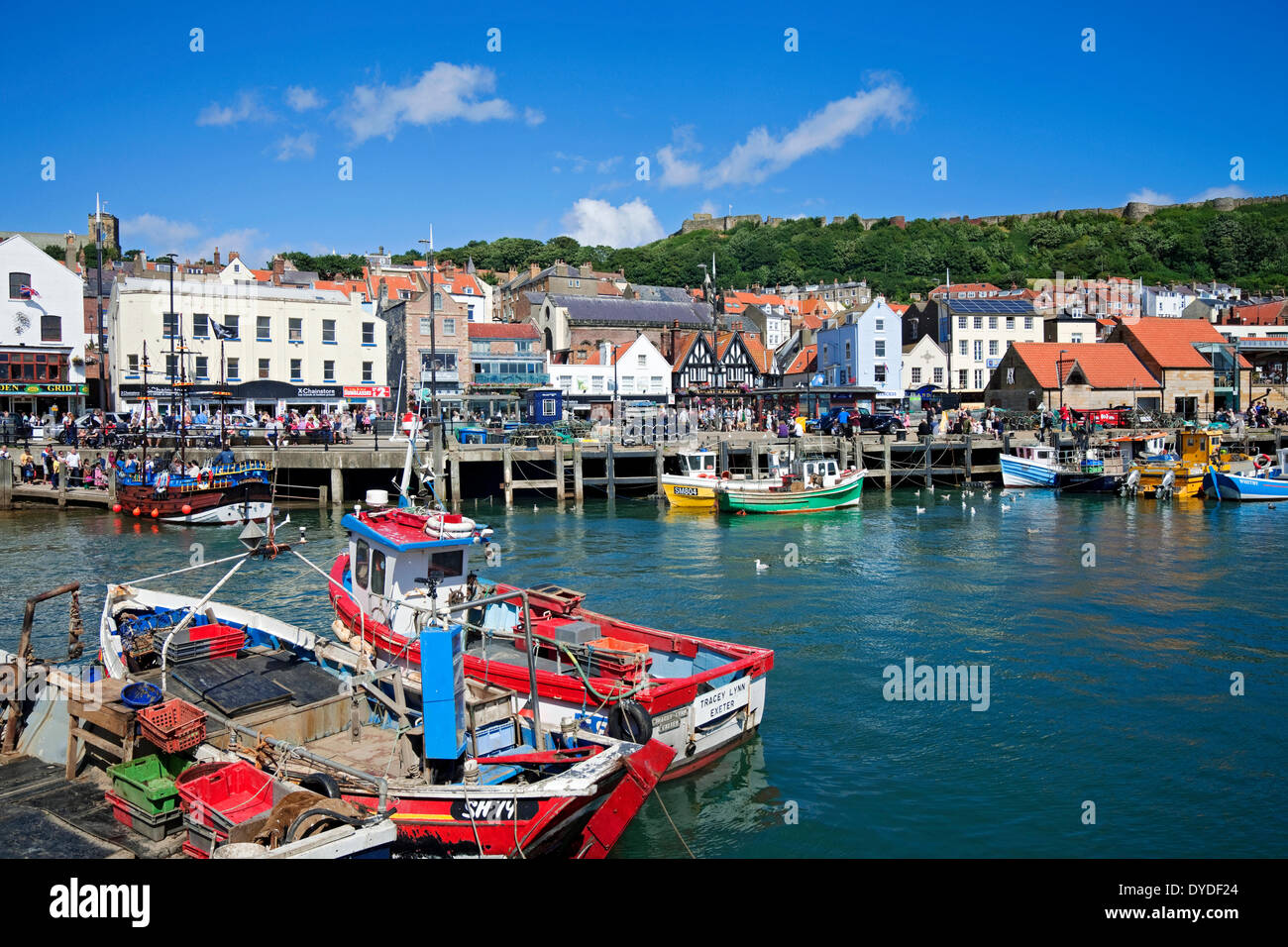 Fishing boats in the harbour at Scarborough. - Stock Image