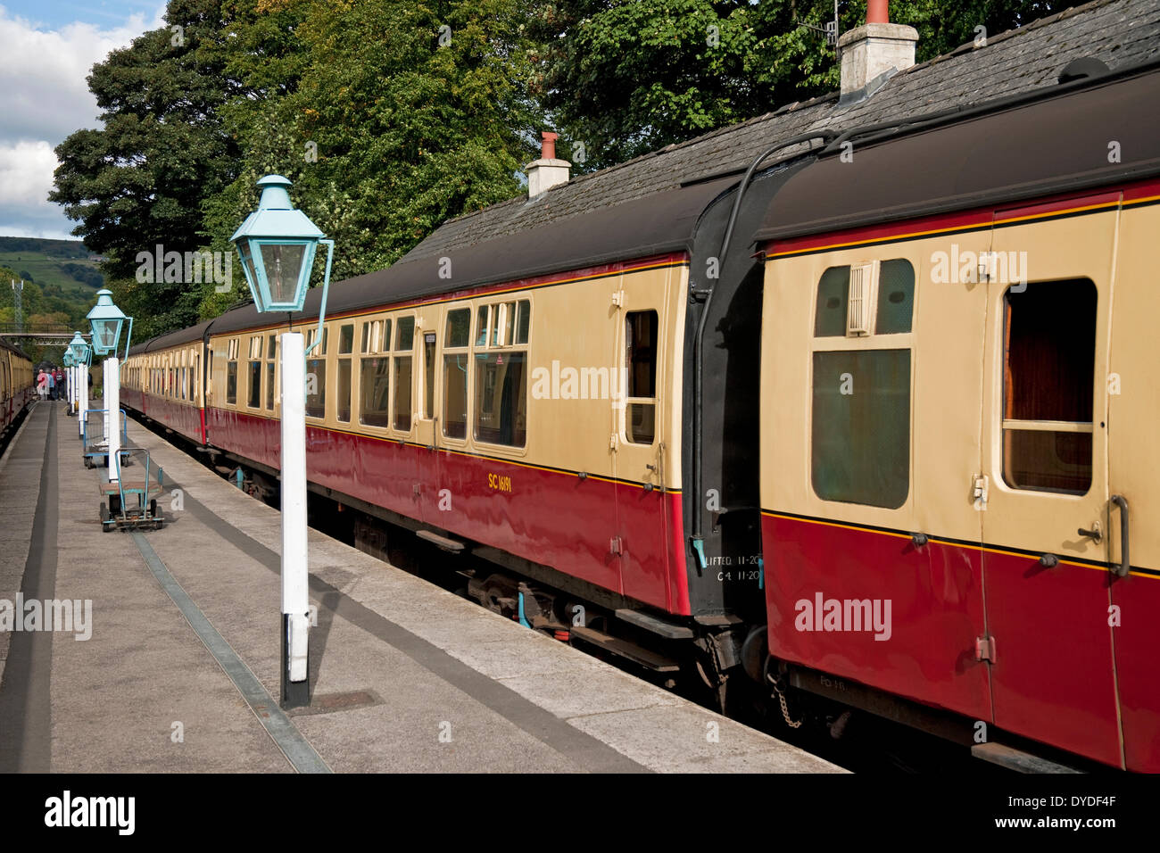 Railway carriages at Grosmont Station. - Stock Image